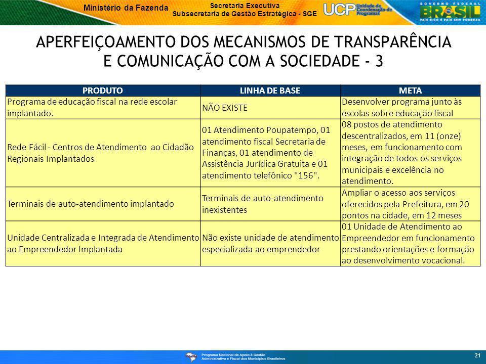 APERFEIÇOAMENTO DOS MECANISMOS DE TRANSPARÊNCIA E COMUNICAÇÃO COM A SOCIEDADE - 3