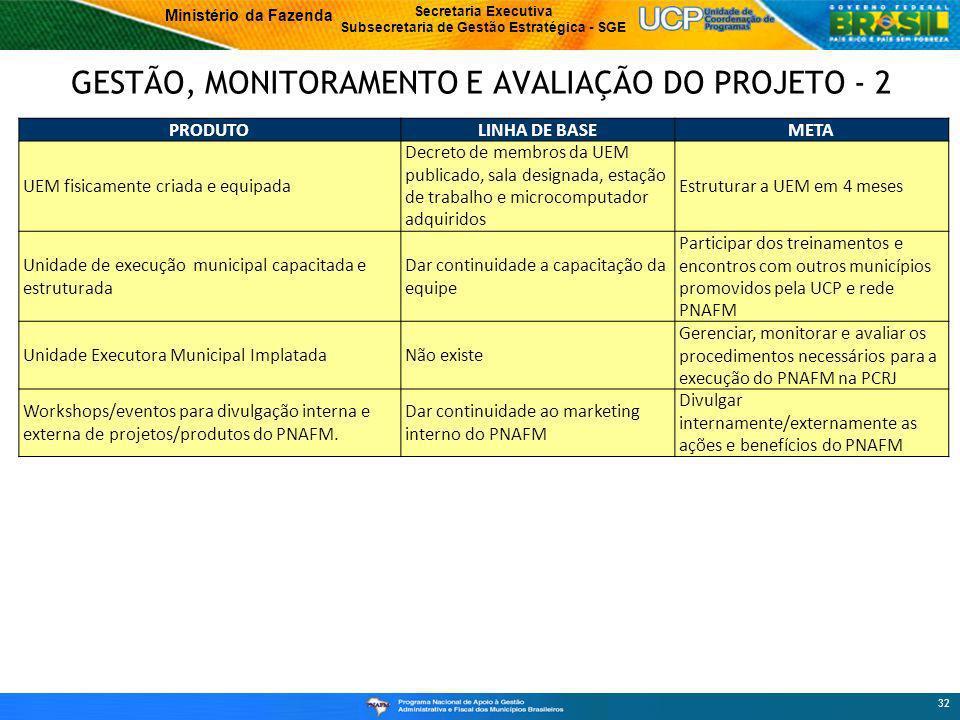 GESTÃO, MONITORAMENTO E AVALIAÇÃO DO PROJETO - 2