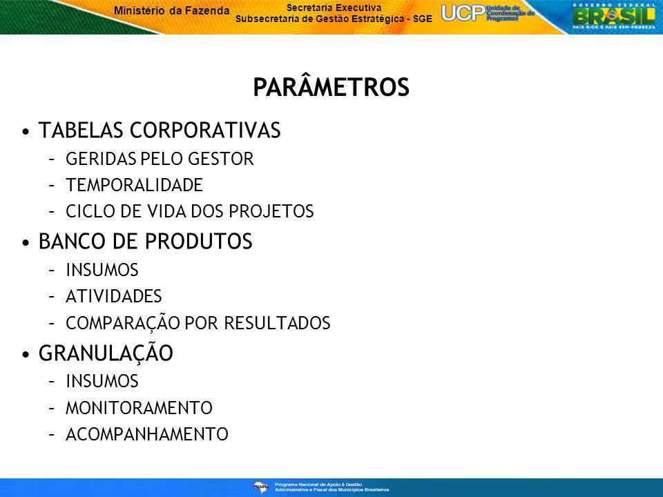 PARÂMETROS TABELAS CORPORATIVAS BANCO DE PRODUTOS GRANULAÇÃO