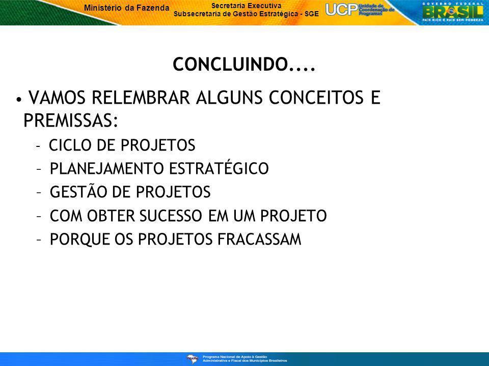 CONCLUINDO.... VAMOS RELEMBRAR ALGUNS CONCEITOS E PREMISSAS: