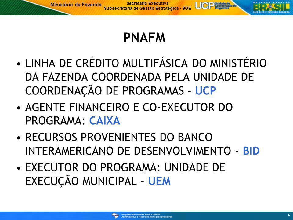 PNAFM LINHA DE CRÉDITO MULTIFÁSICA DO MINISTÉRIO DA FAZENDA COORDENADA PELA UNIDADE DE COORDENAÇÃO DE PROGRAMAS - UCP.