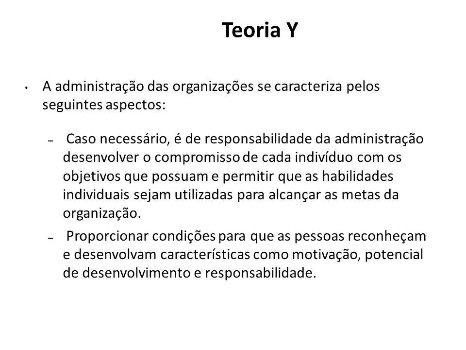 Teoria Y A administração das organizações se caracteriza pelos seguintes aspectos: