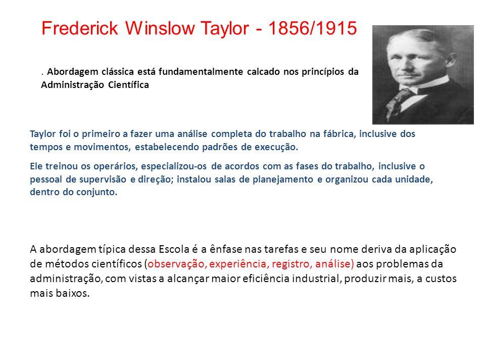Frederick Winslow Taylor - 1856/1915