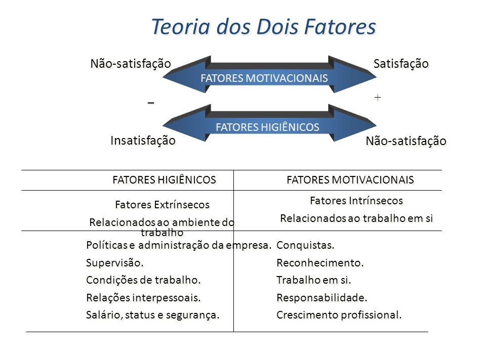 - Teoria dos Dois Fatores Não-satisfação Satisfação Insatisfação