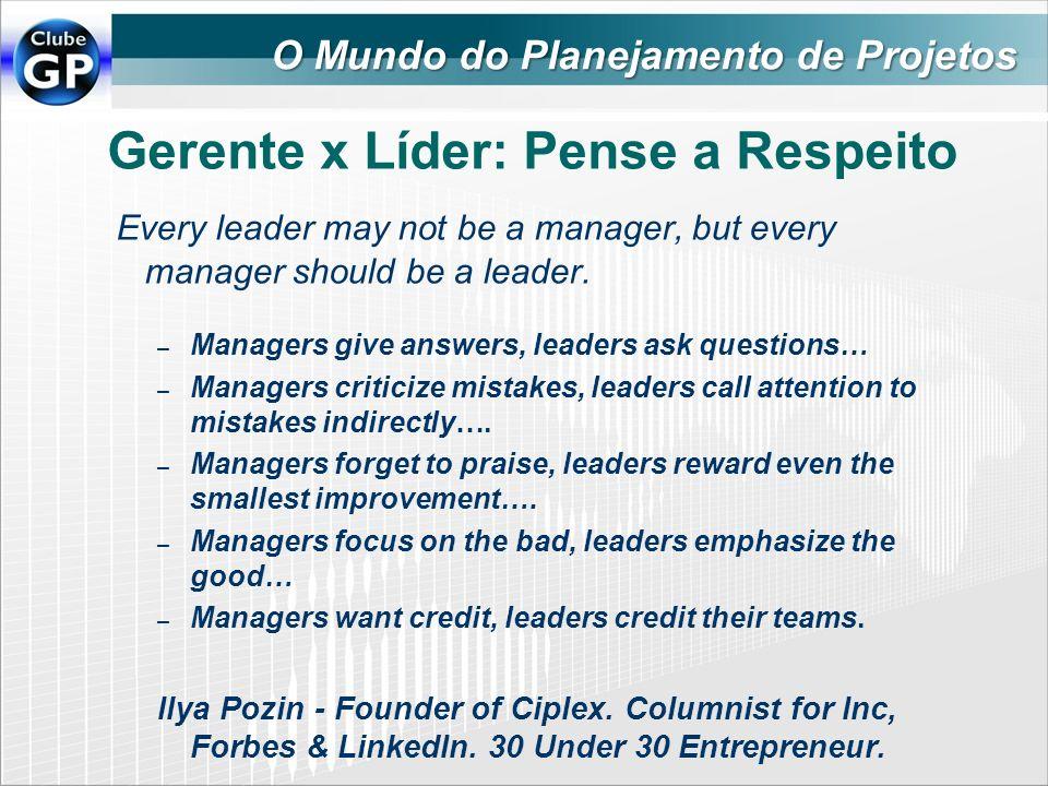 Gerente x Líder: Pense a Respeito