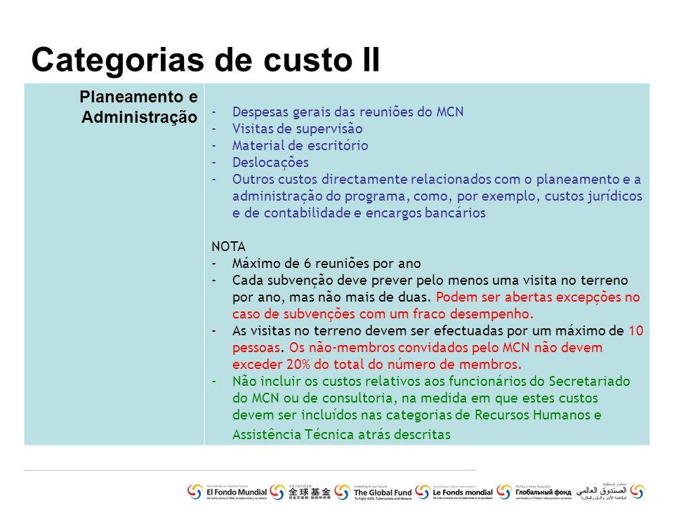 Categorias de custo II Planeamento e Administração