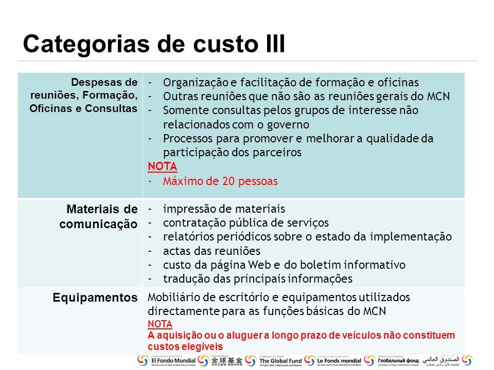 Categorias de custo III
