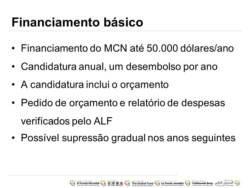 Financiamento básico Financiamento do MCN até 50.000 dólares/ano