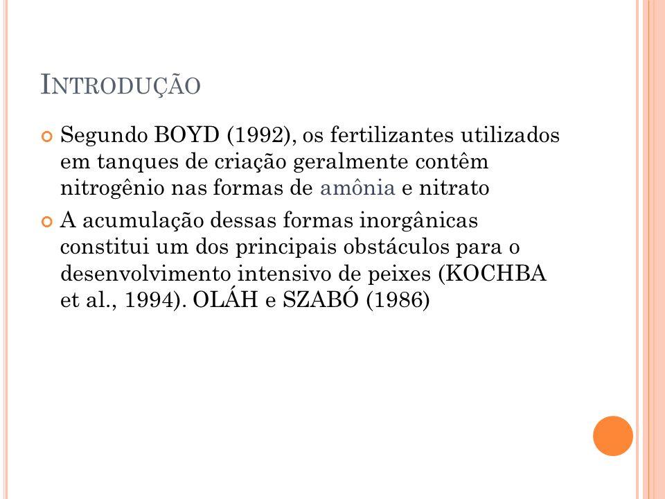 Introdução Segundo BOYD (1992), os fertilizantes utilizados em tanques de criação geralmente contêm nitrogênio nas formas de amônia e nitrato.