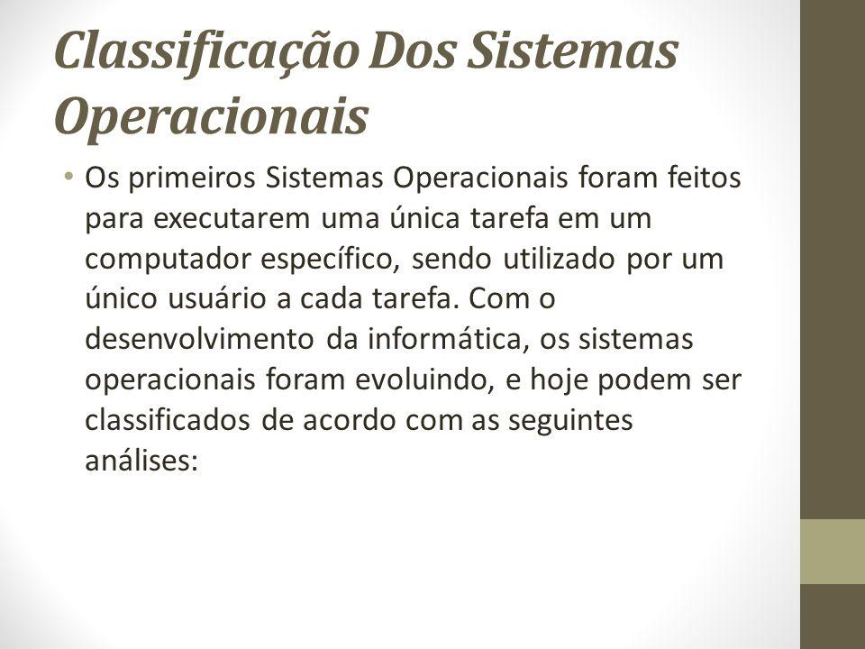 Classificação Dos Sistemas Operacionais