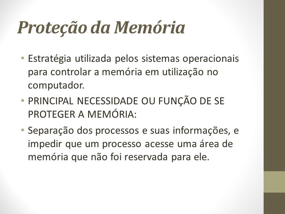 Proteção da Memória Estratégia utilizada pelos sistemas operacionais para controlar a memória em utilização no computador.