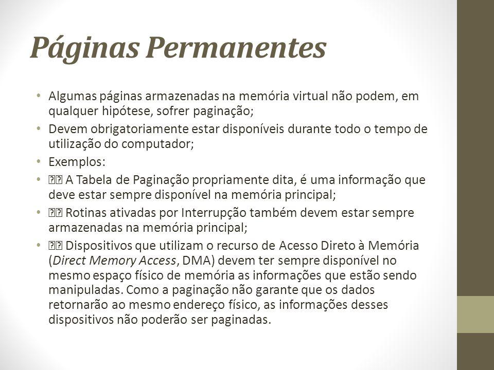 Páginas Permanentes Algumas páginas armazenadas na memória virtual não podem, em qualquer hipótese, sofrer paginação;