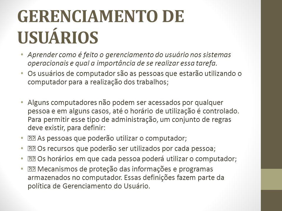 GERENCIAMENTO DE USUÁRIOS