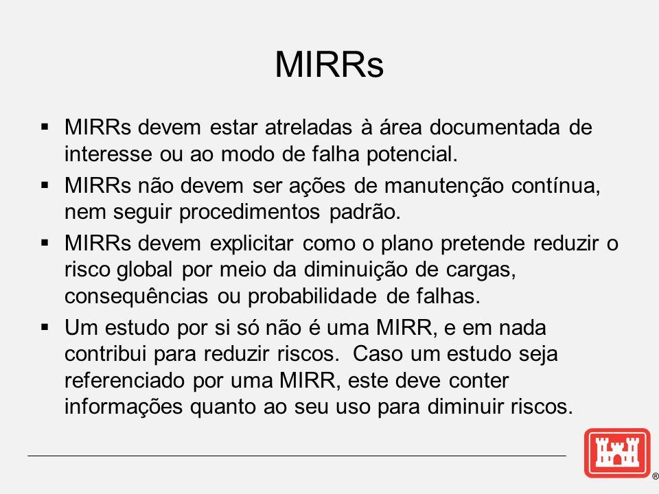 MIRRs MIRRs devem estar atreladas à área documentada de interesse ou ao modo de falha potencial.