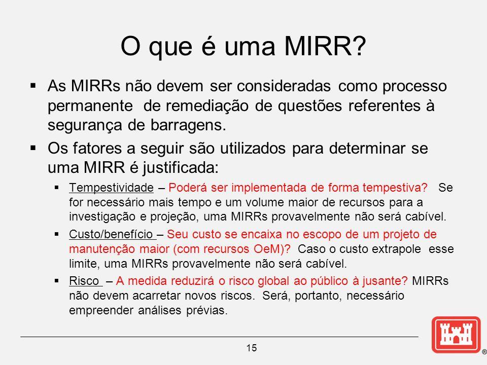 O que é uma MIRR As MIRRs não devem ser consideradas como processo permanente de remediação de questões referentes à segurança de barragens.