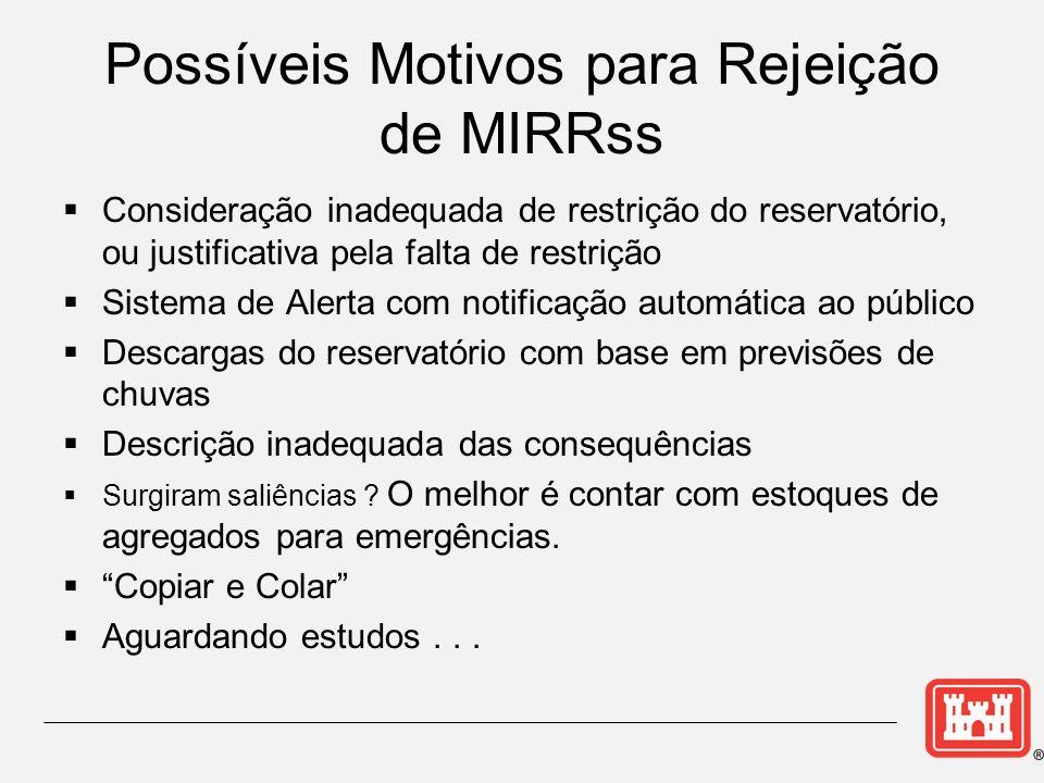 Possíveis Motivos para Rejeição de MIRRss