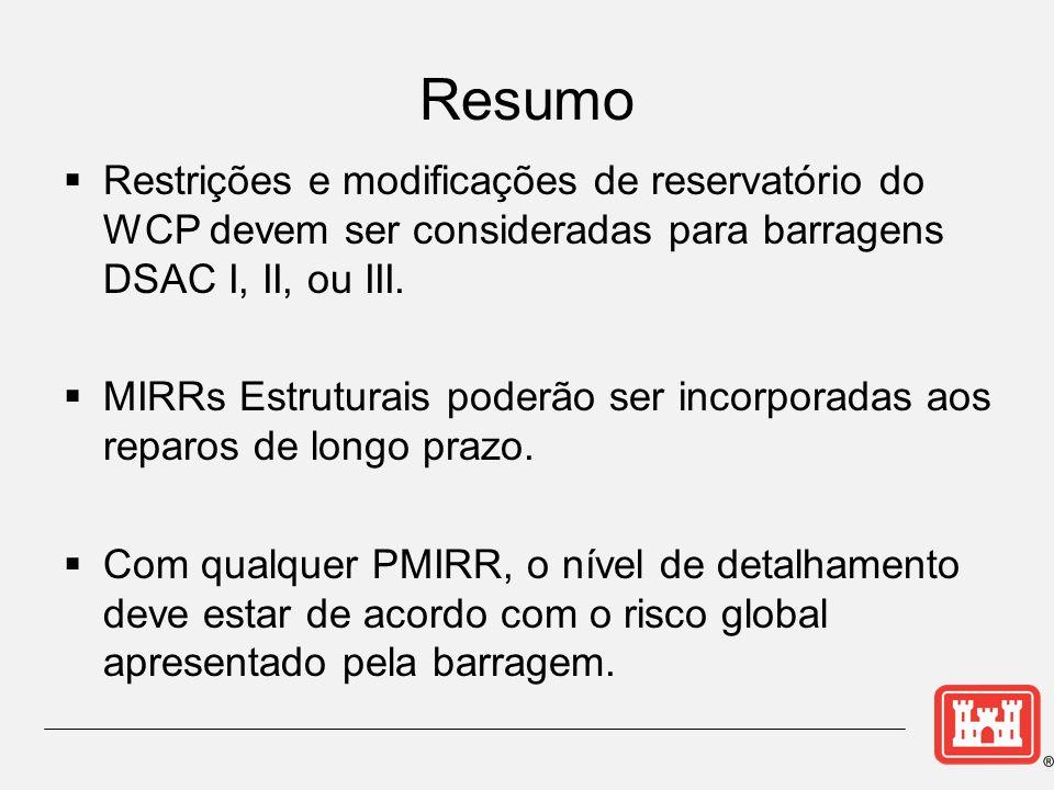Resumo Restrições e modificações de reservatório do WCP devem ser consideradas para barragens DSAC I, II, ou III.