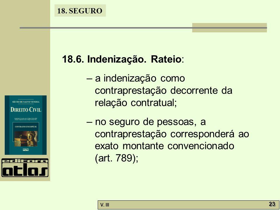 18.6. Indenização. Rateio: – a indenização como contraprestação decorrente da relação contratual;