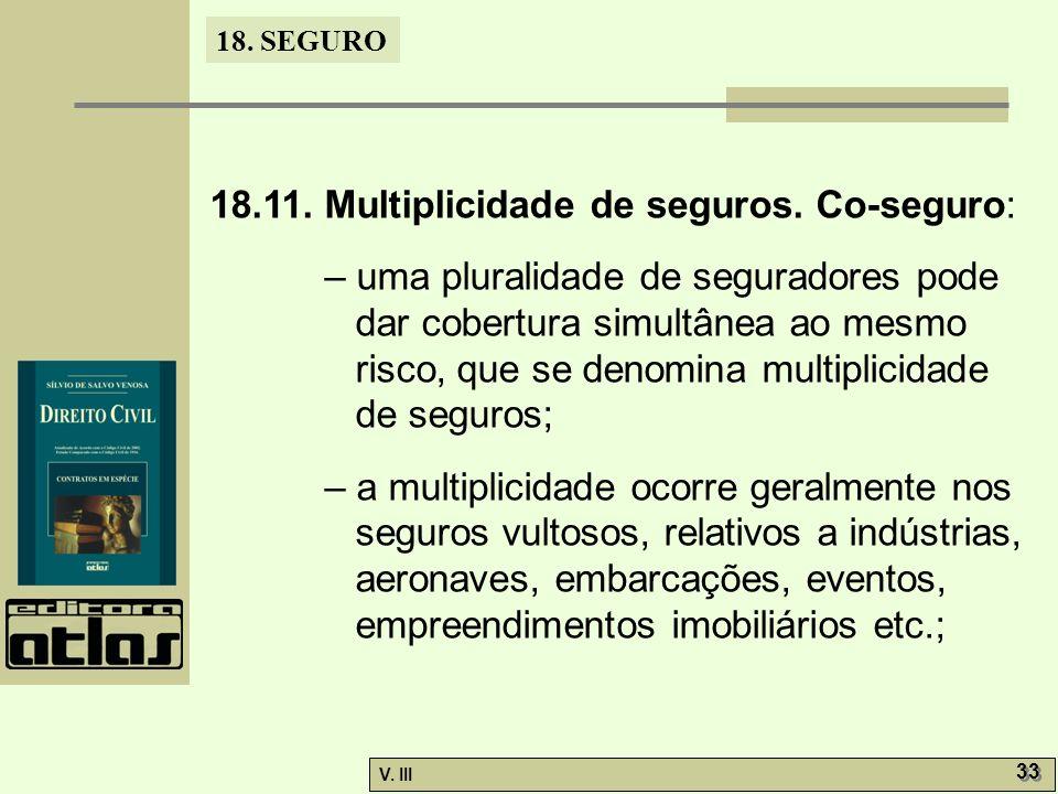 18.11. Multiplicidade de seguros. Co-seguro: