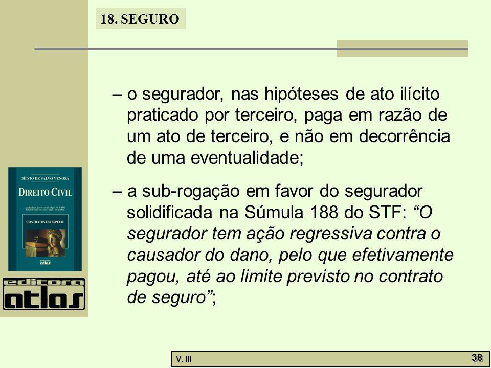 – o segurador, nas hipóteses de ato ilícito praticado por terceiro, paga em razão de um ato de terceiro, e não em decorrência de uma eventualidade;