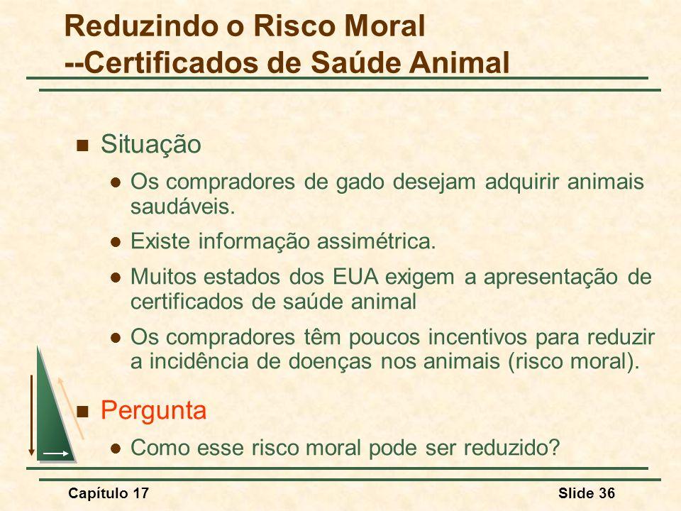 Reduzindo o Risco Moral --Certificados de Saúde Animal