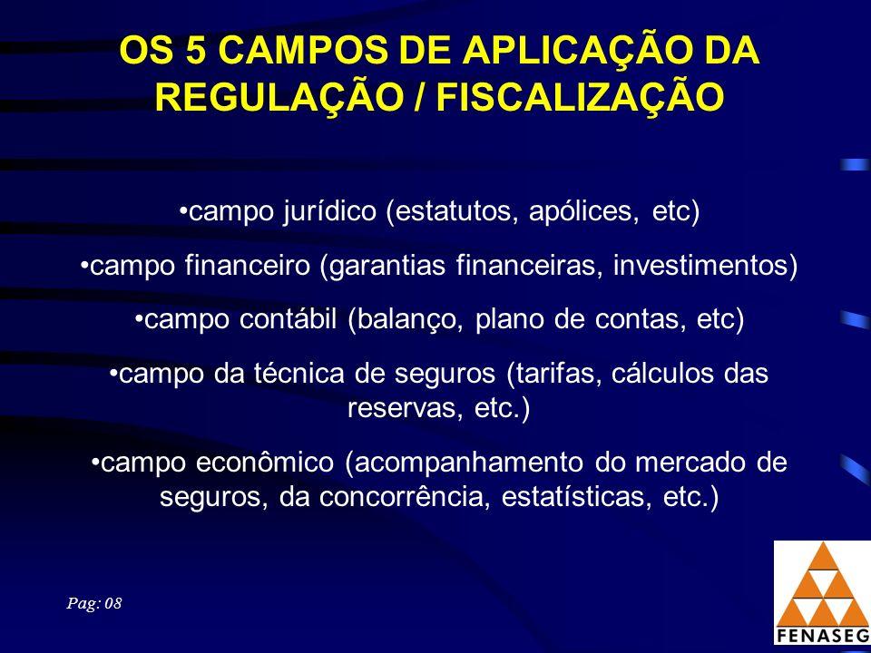 OS 5 CAMPOS DE APLICAÇÃO DA REGULAÇÃO / FISCALIZAÇÃO