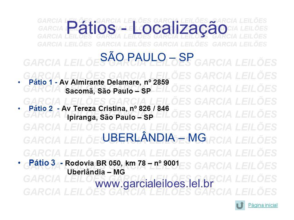 Pátios - Localização SÃO PAULO – SP UBERLÂNDIA – MG
