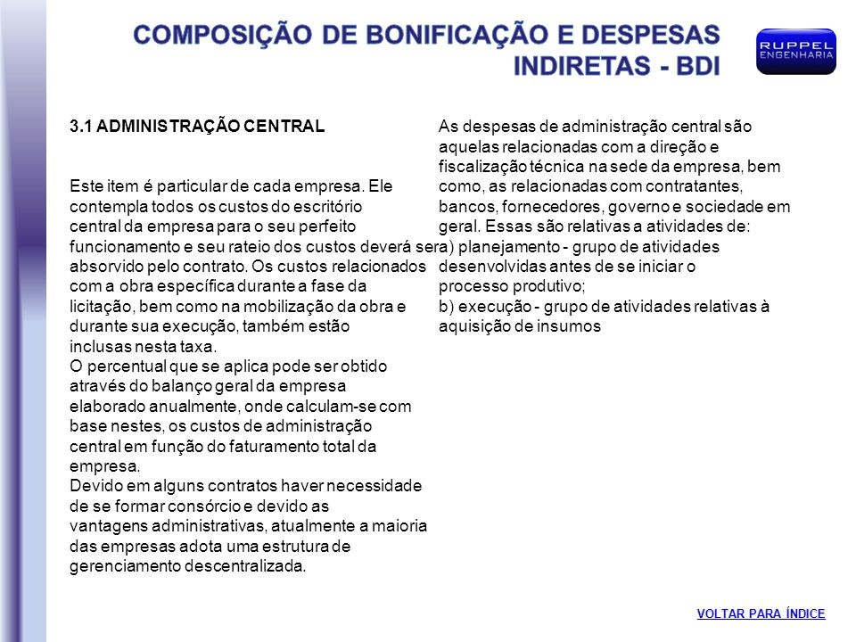 3.1 ADMINISTRAÇÃO CENTRAL
