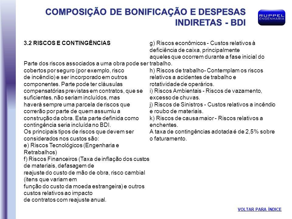 3.2 RISCOS E CONTINGÊNCIAS