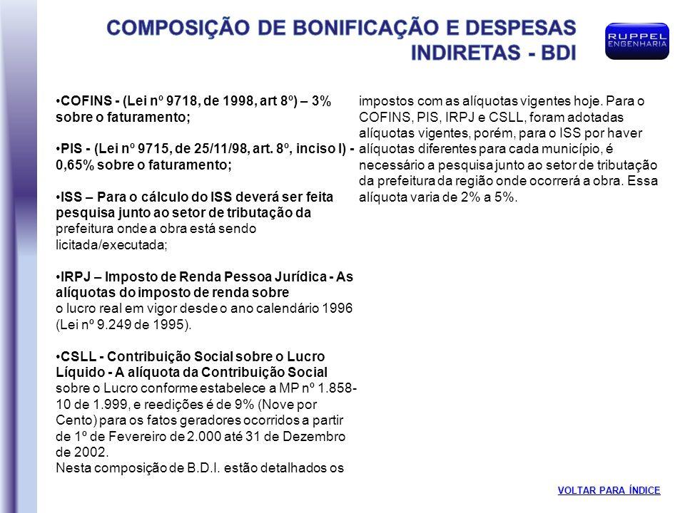 COFINS - (Lei nº 9718, de 1998, art 8º) – 3% sobre o faturamento;
