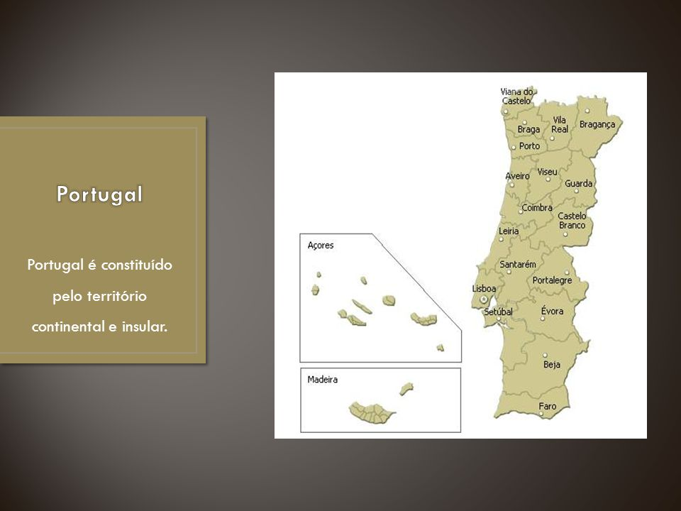 Portugal é constituído pelo território continental e insular.