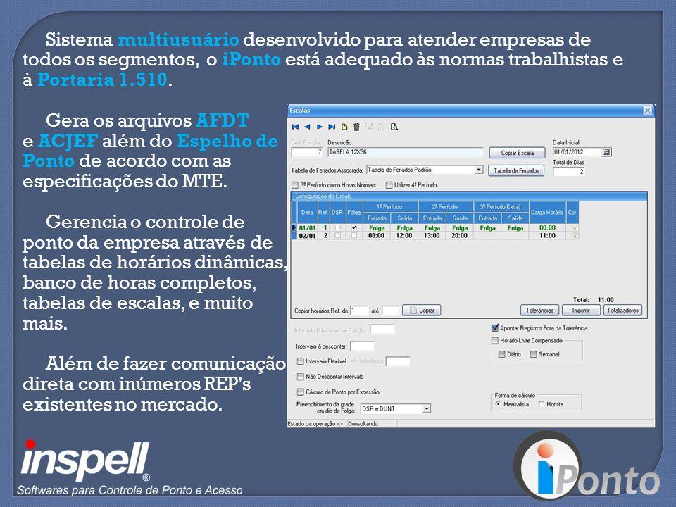 Sistema multiusuário desenvolvido para atender empresas de todos os segmentos, o iPonto está adequado às normas trabalhistas e à Portaria 1.510.
