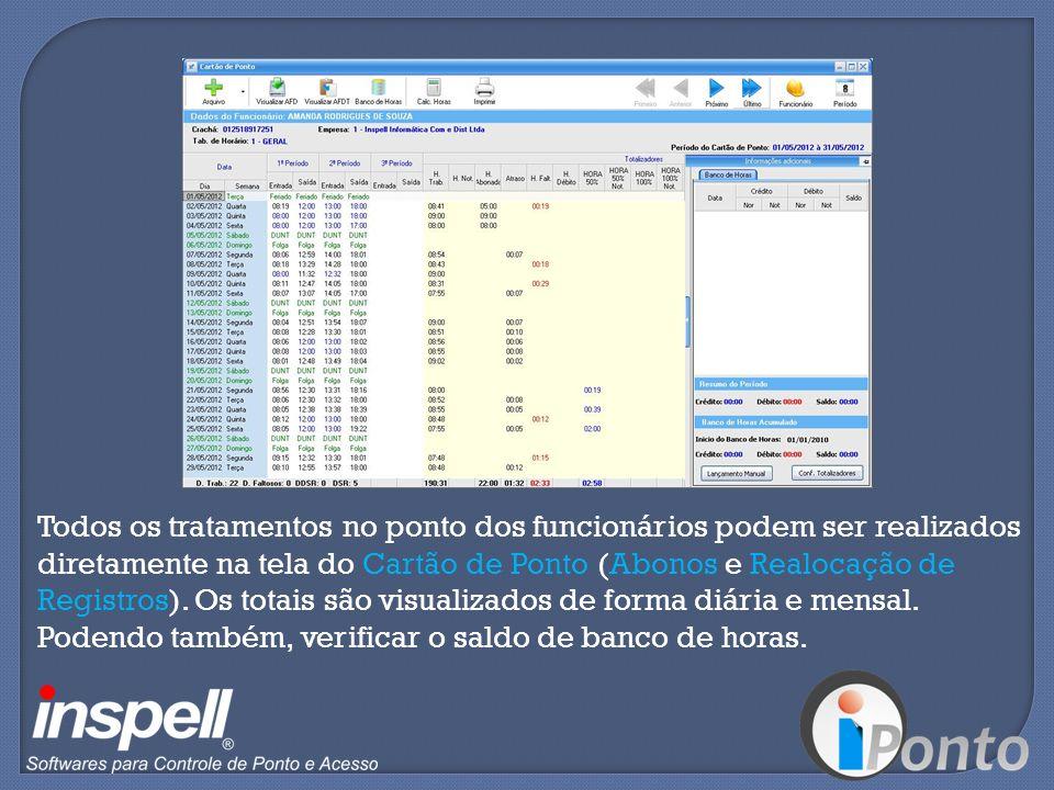 Todos os tratamentos no ponto dos funcionários podem ser realizados diretamente na tela do Cartão de Ponto (Abonos e Realocação de Registros).