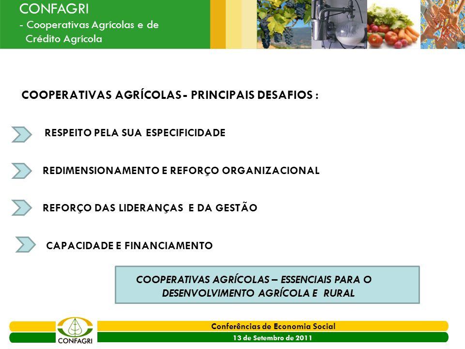 COOPERATIVAS AGRÍCOLAS - PRINCIPAIS DESAFIOS :