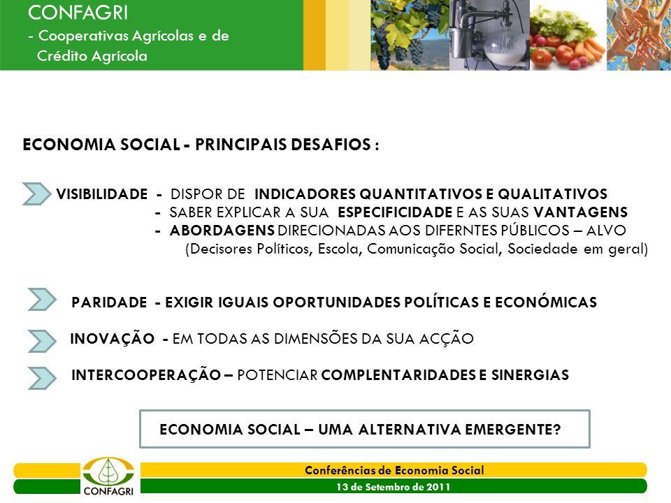 ECONOMIA SOCIAL - PRINCIPAIS DESAFIOS :