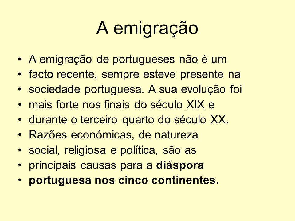 A emigração A emigração de portugueses não é um