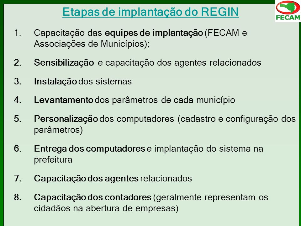 Etapas de implantação do REGIN