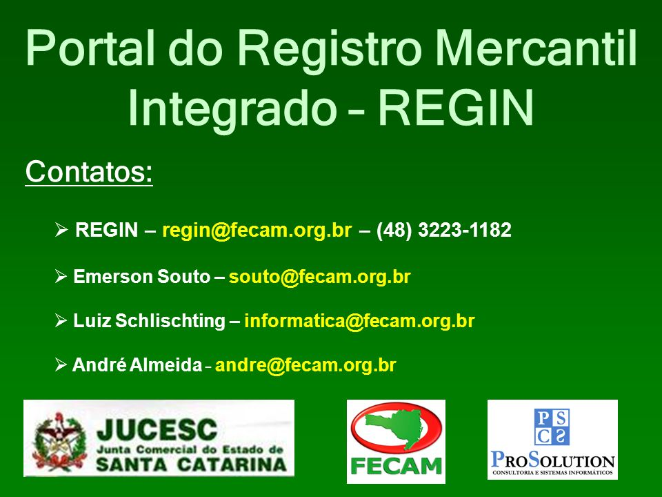 Portal do Registro Mercantil Integrado – REGIN