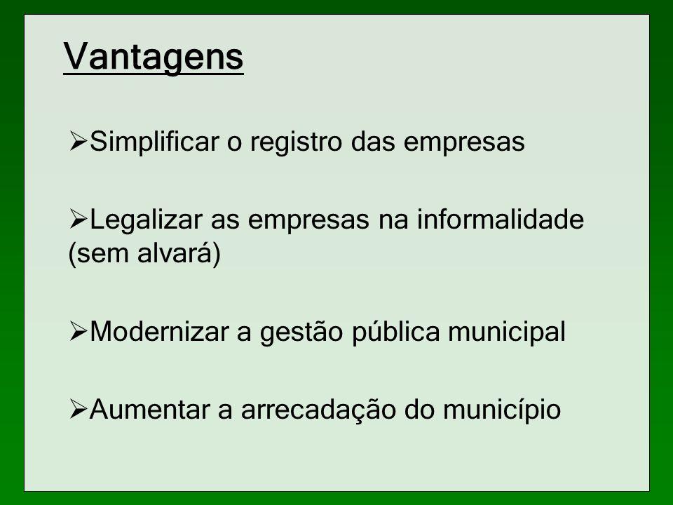 Vantagens Simplificar o registro das empresas