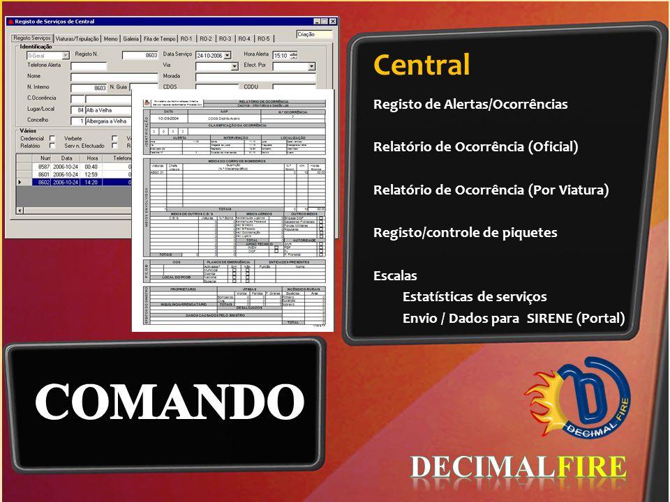 COMANDO Central DECIMALFIRE Registo de Alertas/Ocorrências