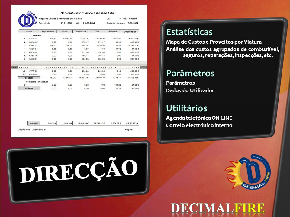 DIRECÇÃO DECIMALFIRE Estatísticas Parâmetros Utilitários