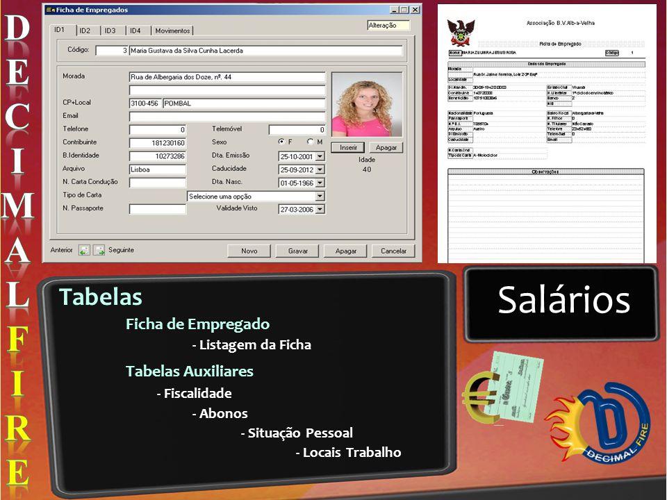 Salários D E C I M A L F R Tabelas Ficha de Empregado