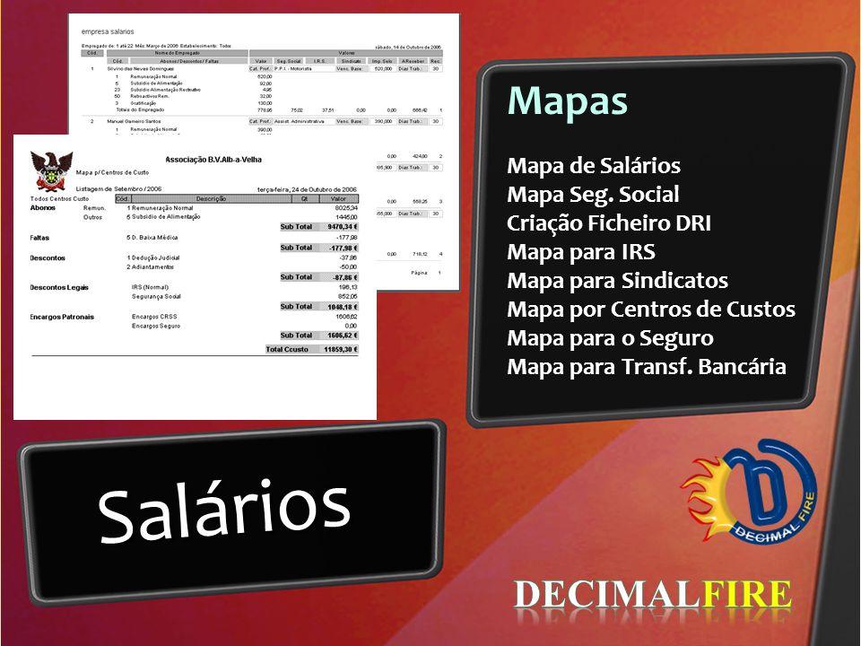 Salários Mapas DECIMALFIRE Mapa de Salários Mapa Seg. Social
