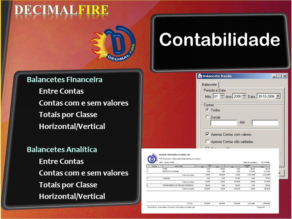 Contabilidade DECIMALFIRE Balancetes Financeira Entre Contas