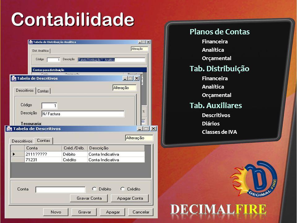 Contabilidade DECIMALFIRE Planos de Contas Tab. Distribuição