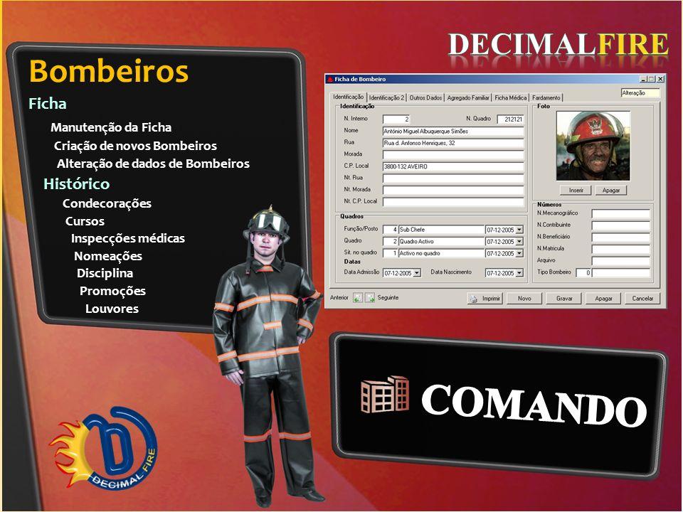 COMANDO Bombeiros DECIMALFIRE Ficha Manutenção da Ficha Histórico