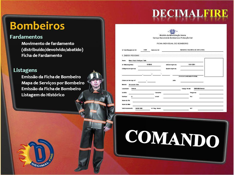 COMANDO Bombeiros DECIMALFIRE Fardamentos Listagens