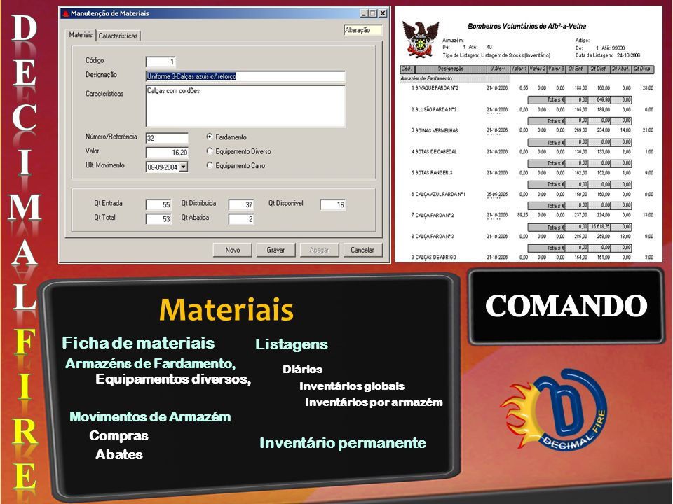 D E C I M A L F R Materiais COMANDO Listagens Ficha de materiais