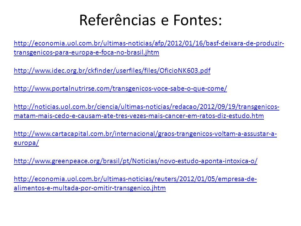 Referências e Fontes: