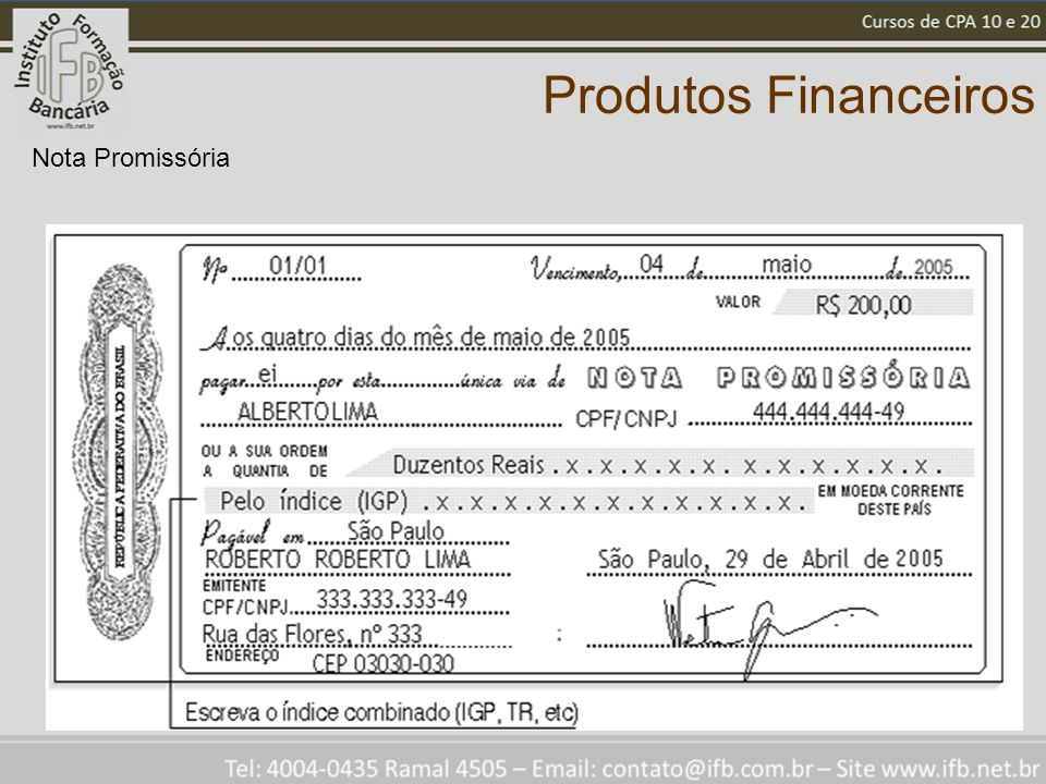 Produtos Financeiros Nota Promissória
